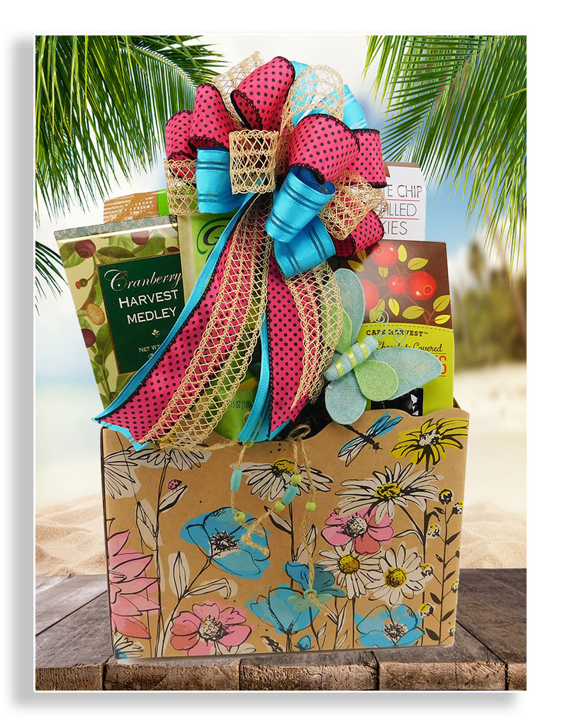 A lovely floral gift box with a pretty butterfly pick is loaded with a variety of delicious goodies: dried fruit, chocolate chip fudge filled cookies, apple candies, trail mix, tea cake, cashew crunch, and dark chocolate covered cranberries.