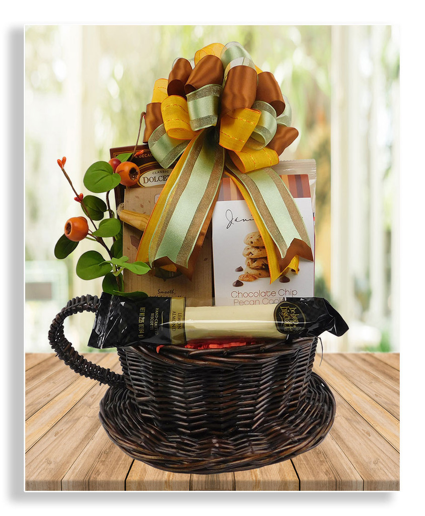 Our Coffee 'n Cookies latte basket holds a variety of cookies and coffees to satisfy your early afternoon cravings! Dolcetto wafers, biscotti, almond thins, lemon cookies, and 2 varieties of coffee. Makes a fabulous get well, birthday and thank you gift!
