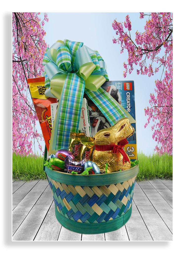 Easter is here! Our Lego Connection basket is a perfect Easter gift for those who love to build things. It includes a 3 in 1 Lego kit, chocolate bunny, cookies and a variety of yummy candies. This Lego kit is recommended for children between the ages of 6-12.