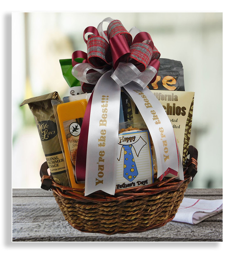 Your snack-loving dad will enjoy digging into his basket filled with snack mix, pistachios, cheese, wafer crackers, summer sausage, olives, peanut crunch, dried apple chips and sunflower chips. Add a personalized ribbon message and a hand picked personalized gift card to create your special touch.