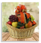 This juicy fresh fruit basket is loaded with hand selected seasonal fruit plus cheese, crackers, nuts, pretzels and tea.