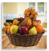 This juicy fresh fruit basket is loaded with hand selected seasonal fruit. You may choose from baskets containing fresh fruit only, ones containing fresh fruit, nuts, cheese, crackers,  and tea , and from fresh fruit baskets with all of the above, plus pretzels, dipping mustard, snack mix, cookies and additional fruit (large-as shown).
