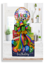 Presenting our fun filled and brightly colored birthday box, loaded with several variety of candies, snack mix, party mix, cookies, lemon wafer bites and caramel popcorn. A 9 inch birthday balloon is included with this gift.