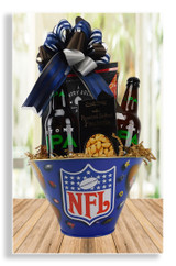 This party in a bowl is a great sidelines snack gift! Jerky, chips and peanuts to which you pick out and add his all time favorite brew! This basket can accomodate up to 2- 20 ounce bottles of his favorite beer.  Beer is not included.
