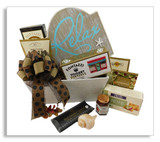 "This any occasion basket sends your friend or loved one a message to relax! Along with the chocolate chip cookies, cheese crackers, yogurt pretzels, sliced sausage, dried fruit and butter toffee caramels is a plaque that says: ""Relax. It doesn't get much better than this."" Wine or any alcoholic beverage of your choice may be added to this gift."