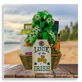 Bring home the luck of the Irish with a delightful goodie basket filled with mint brownie crisps, sugar cookies, hummus and veggie chips snack box, cheese spread with crackers, and white chocolate chip with macadamia nut cookies. Chocolate coins, festive beads and a lucky irish placque are included with this gift.