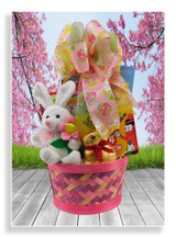 Your little artist is about to be entertained with a creative Easter basket filled with a 64 count crayon set, large coloring book, mini magna Doodle pad, a cute plush bunny, a chocolate Easter bunny and Ghirardelli chocolate and caramel bunnies.