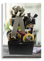 This striking gift trunk for men exudes class and elegance. Includes cheese, crackers, cutting board with cheese knife, assorted nuts, smoked salmon filet, honey mustard pretzels, butter crunch popcorn, tuxedo themed snack mix and chocolate covered toffee almonds. Wine may be added to this gift.