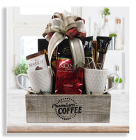 If they love coffee, then this is the gift for them! Our coffee crate comes with Kona coffee, chocolate covered espresso beans, chocolate dipped java bean biscotti, pirouline wafers, 2 coffee mugs and 2 varieties of cookies. Please note that the mug design may differ from the one pictured here. Makes a great birthday, new home and corporate gift.