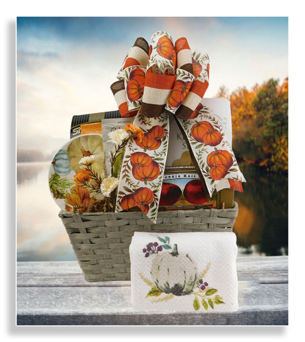 The Pun-kin Patch basket has key lime snap cookies, yogurt pretzels, macaroon cookies, cinnamon sugar cannoli chips, fruit jellies and chai white latte mix. In addition to all these delicious goodies are a pumpkin design kitchen towel and a gorgeous round pumpkin themed plate. Makes a wonderful closing gift, birthday gift, and as a warm thank you gift.