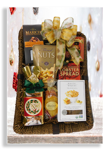 Spread the holiday spirit to your valued clients, associates, family and friends. This elegant tray showcases upscale food items: cheese, crackers, lobster spread, deluxe mixed nuts, Torn Ranch dried fruit, snack mix and Christmas tea. Personalize the ribbon with a  holiday message of your choice.