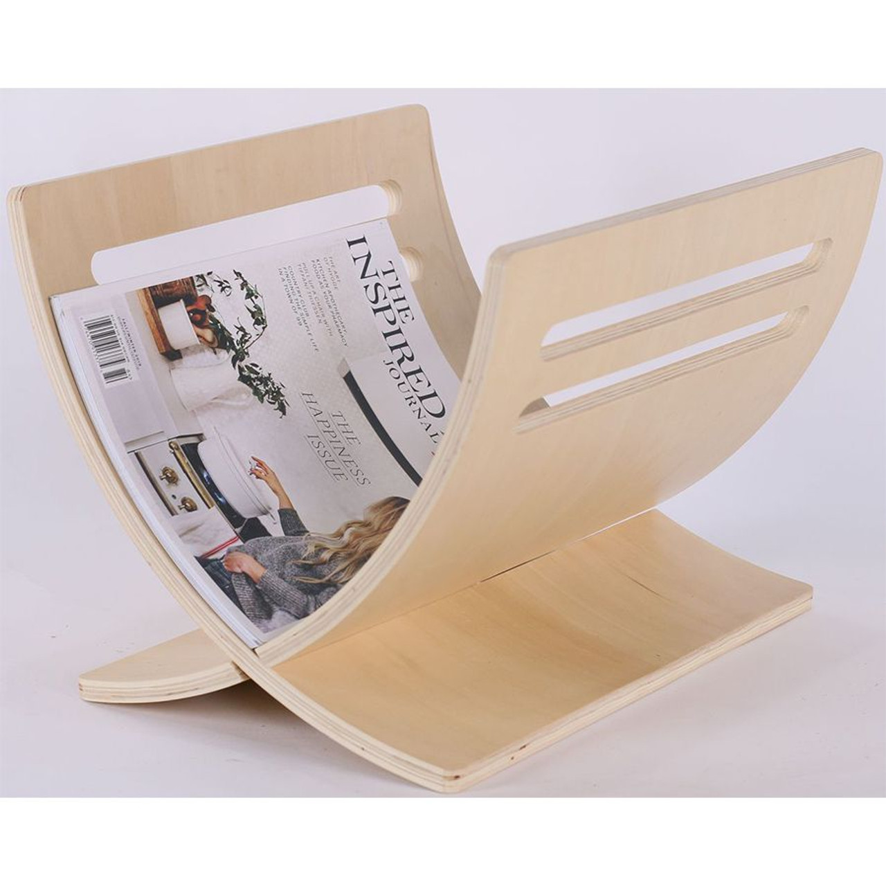Solid Wood Magazine Holder, Natural Color