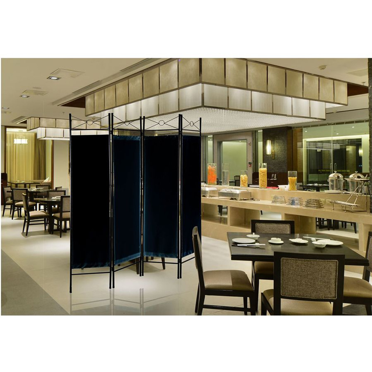 Metal Room Divider Privacy Screen with Removable Fabric  Black Color