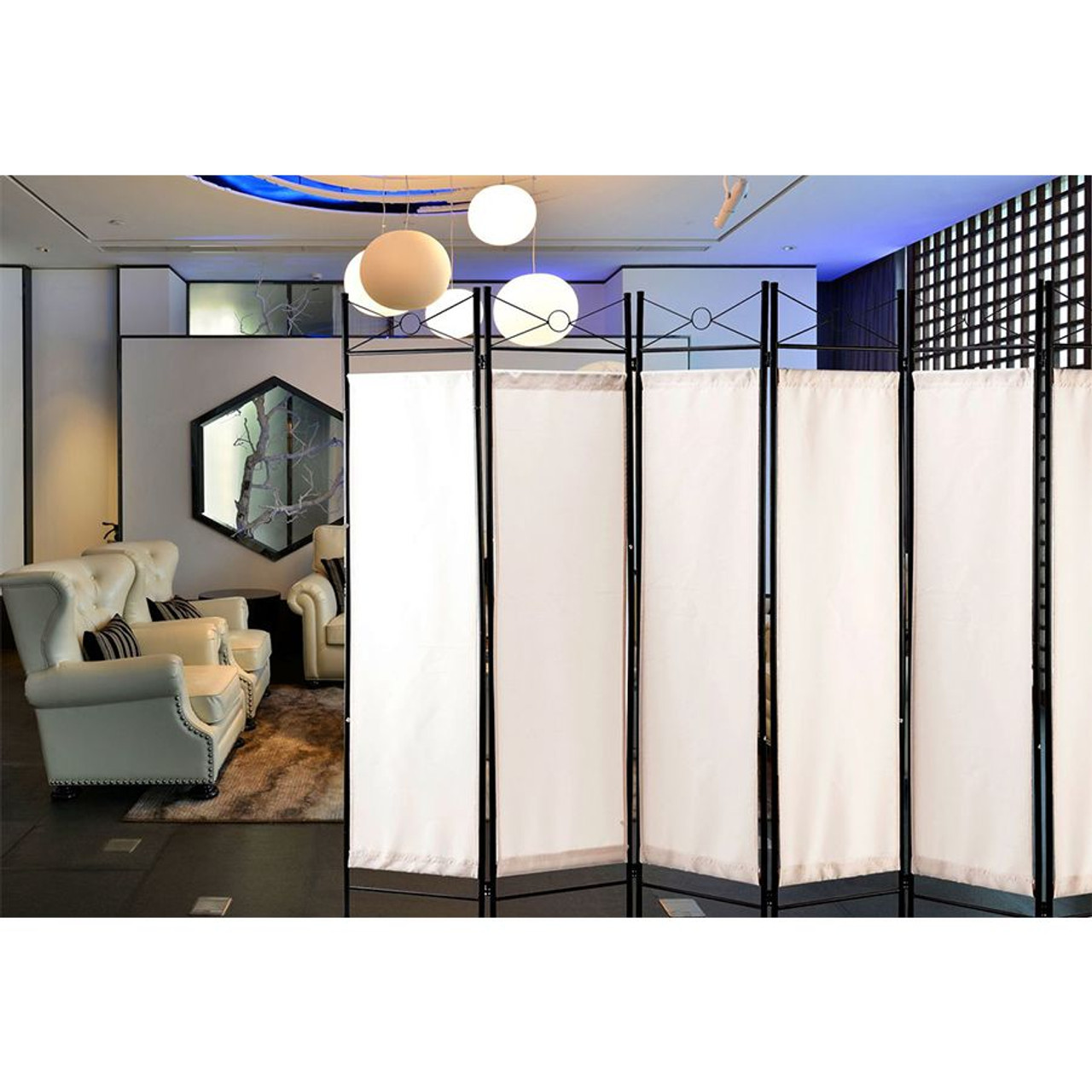 Metal Room Divider Privacy Screen with Removable Fabric  White Color