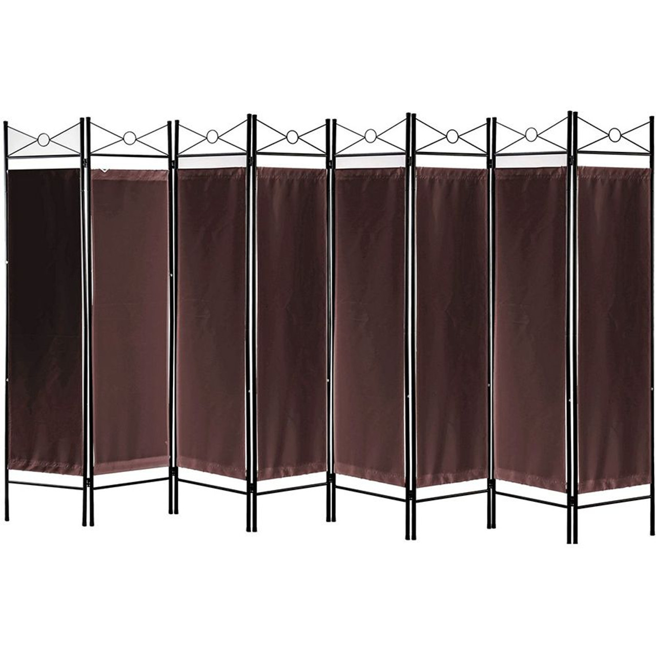 Metal Room Divider Privacy Screen with Removable Fabric  Brown Color