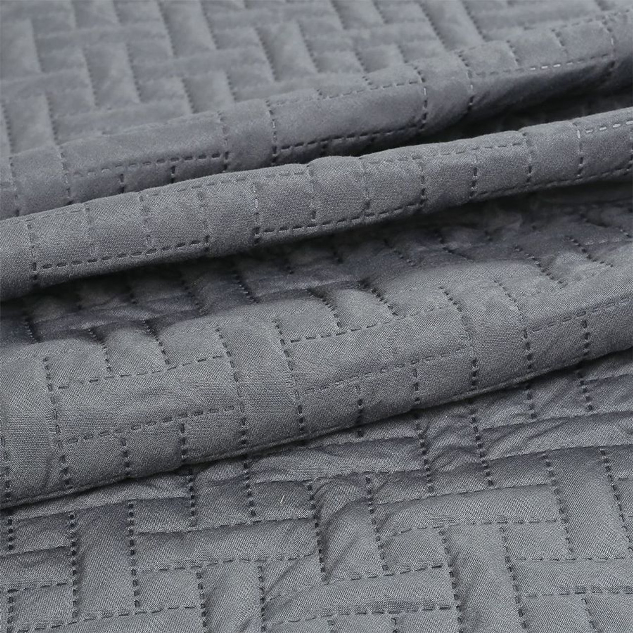 3 PC Squared Stitched Pinsonic Reversible Oversized Bedspread Grey Color