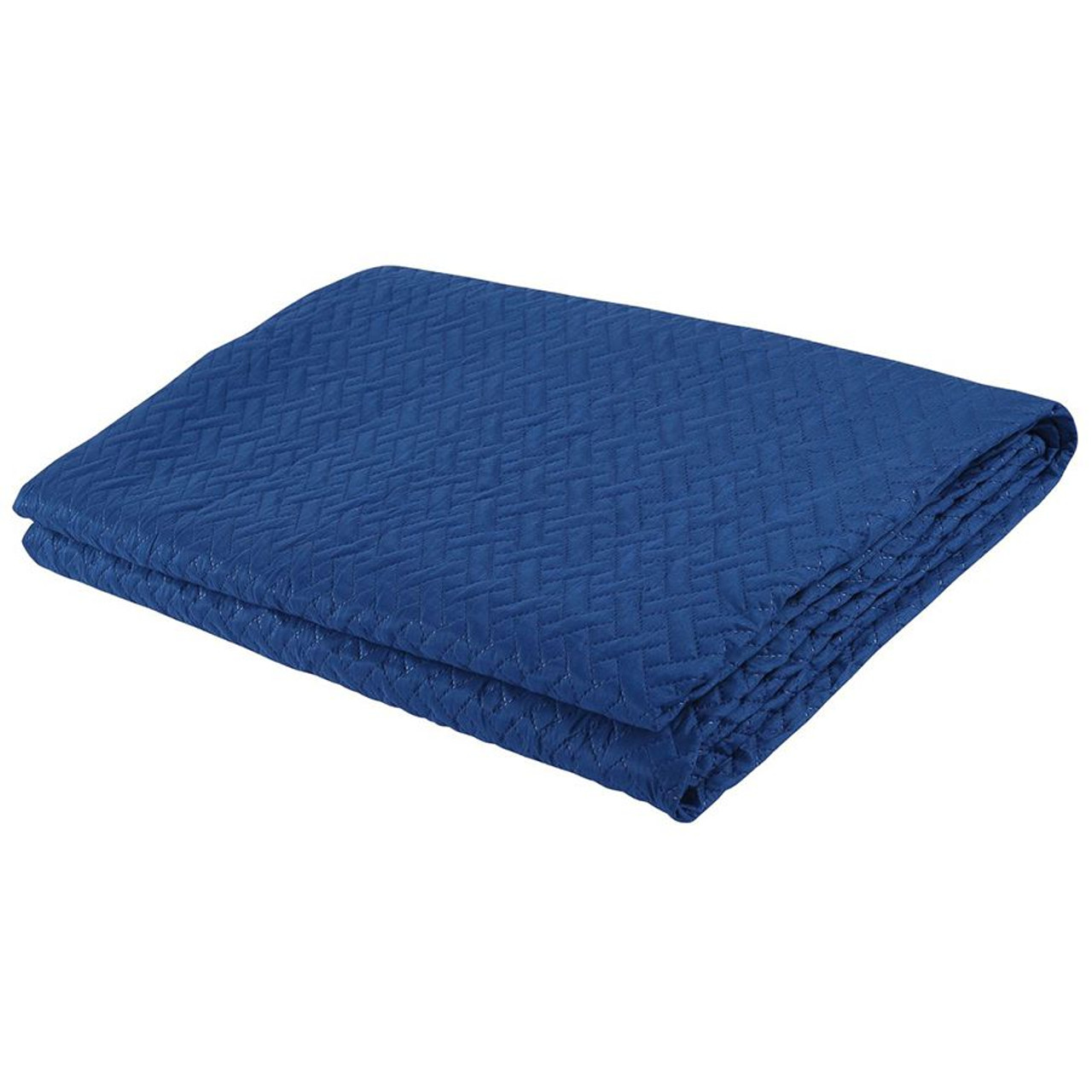 3 PCS Squared Stitched Pinsonic Reversible Oversized Bedspread Navy Color