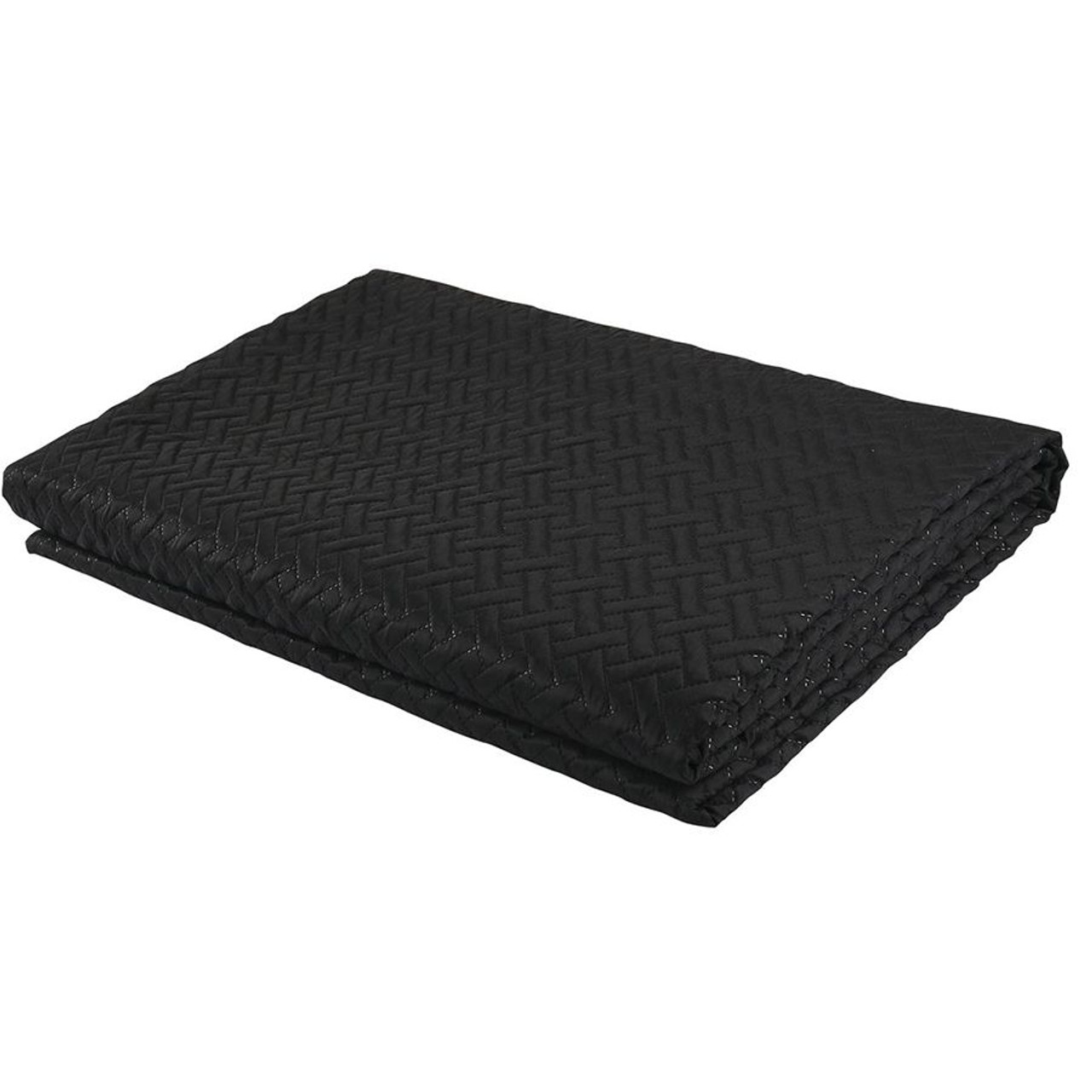 3 PC Squared Stitched Pinsonic Reversible Oversized Bedspread Black Color
