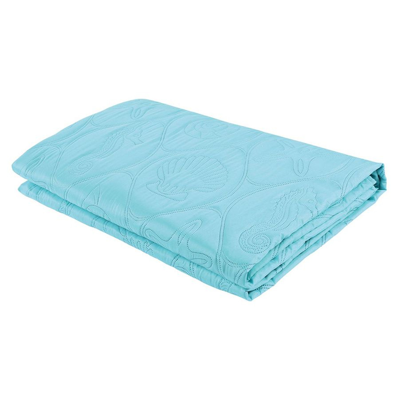 3 PC Shell & Seahorse Stitched Pinsonic Reversible Oversized Bedspread, Turquoise Color