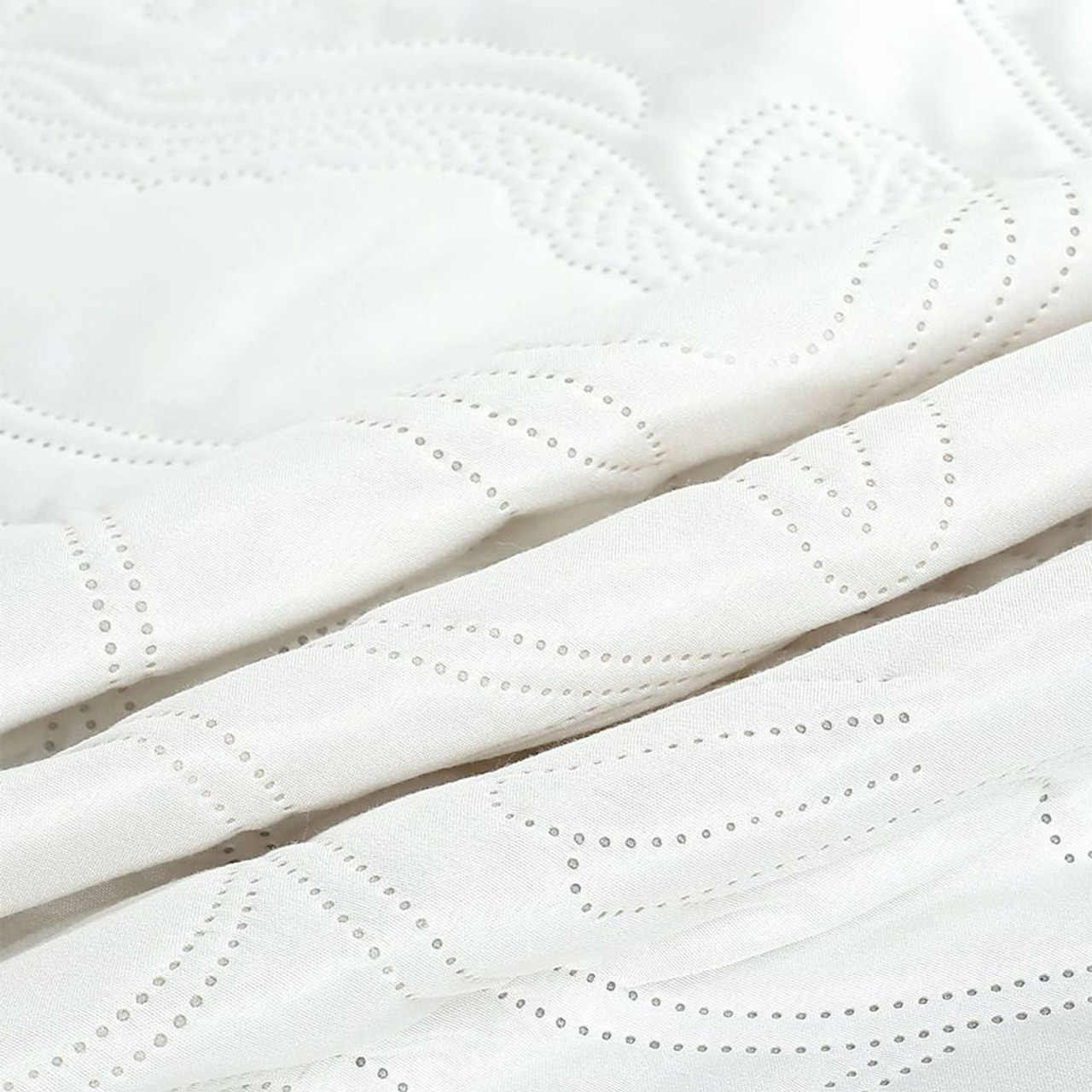 3 PC Shell & Seahorse Stitched Pinsonic Reversible Oversized Bedspread White Color