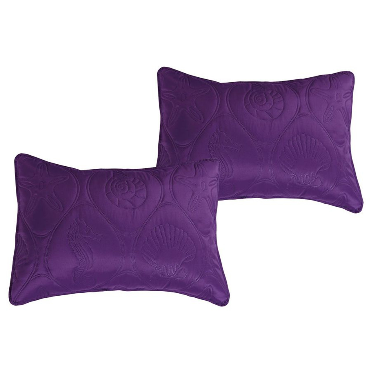 3 PC Shell & Seahorse Stitched Pinsonic Reversible Oversized Bedspread Purple Color