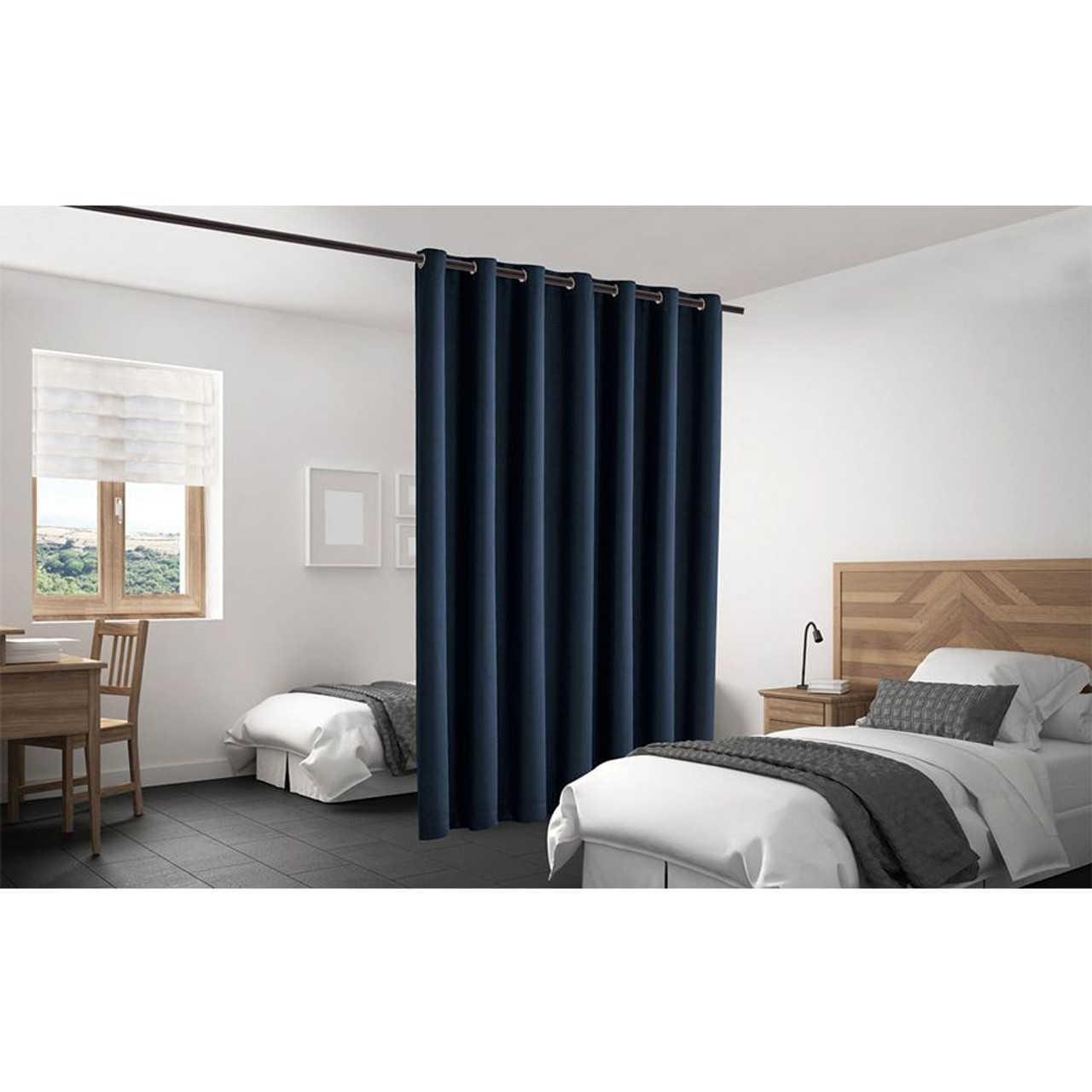 Blackout Room Divider Curtain Panel Thermal Insulated Navy Blue Color