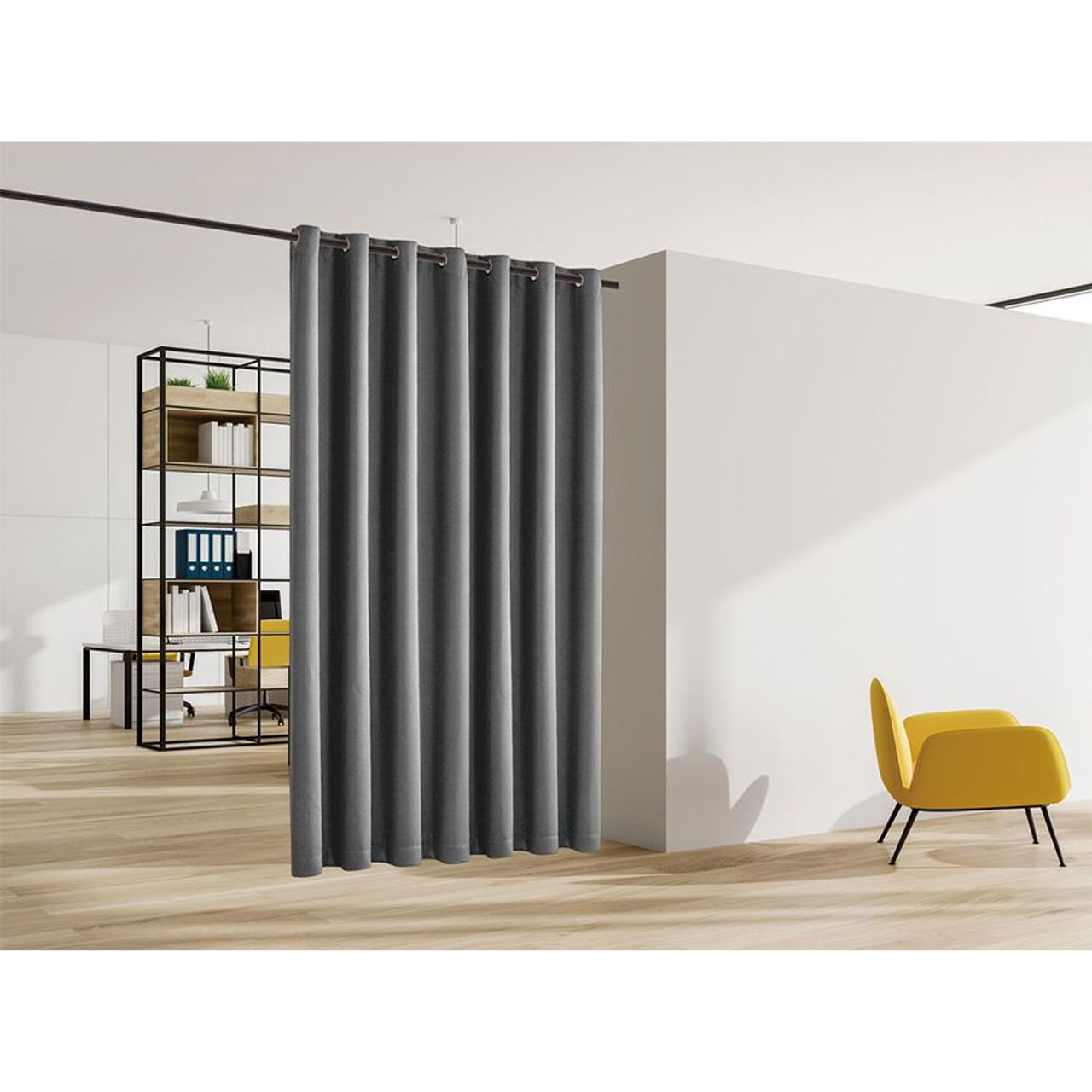 Blackout Room Divider Curtain Panel Thermal Insulated  Grey Color