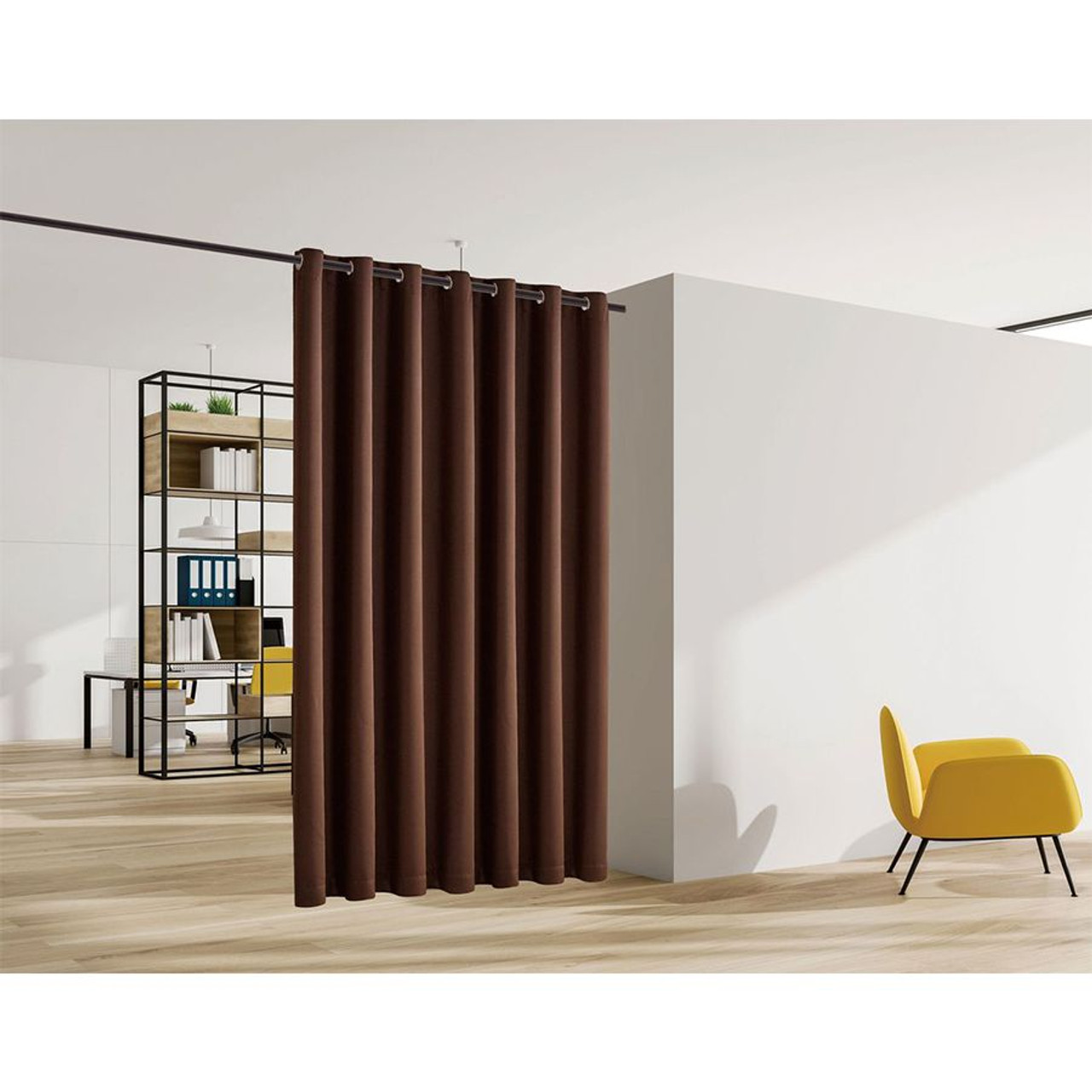 Blackout Room Divider Curtain Panel Thermal Insulated Brown Color