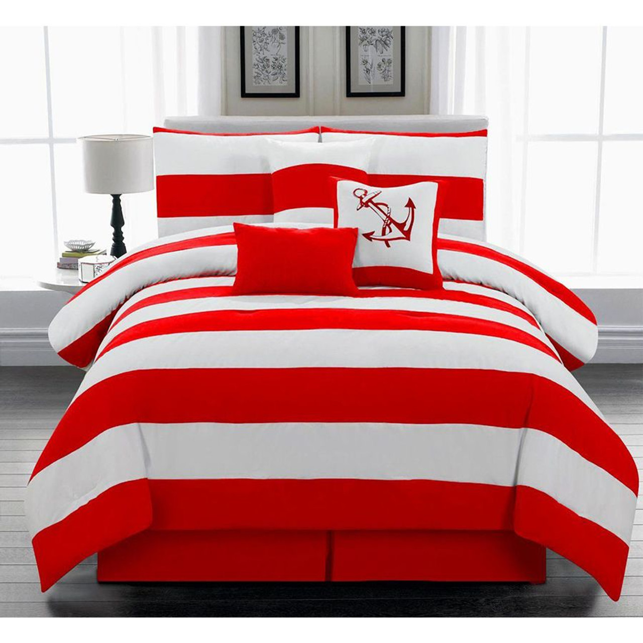 7 pc Microfiber Nautical Themed Comforter Set in Red