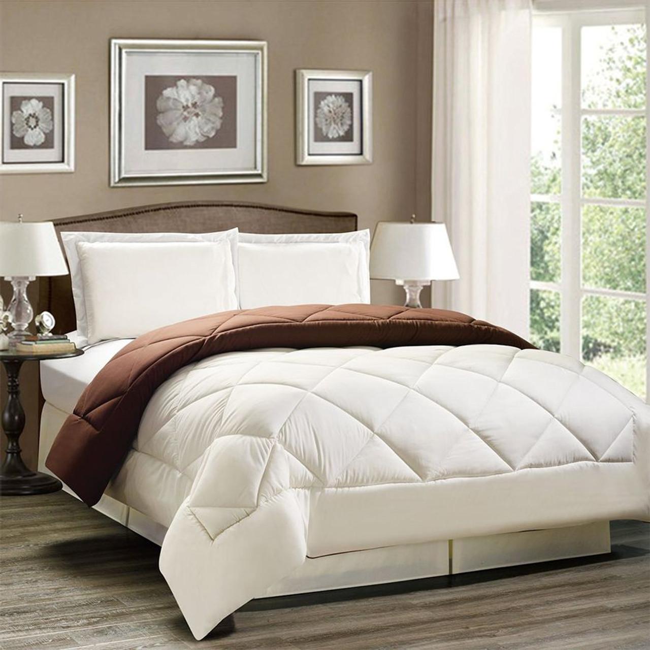 3pc Down Alternative Reversible Comforter Set in Brown