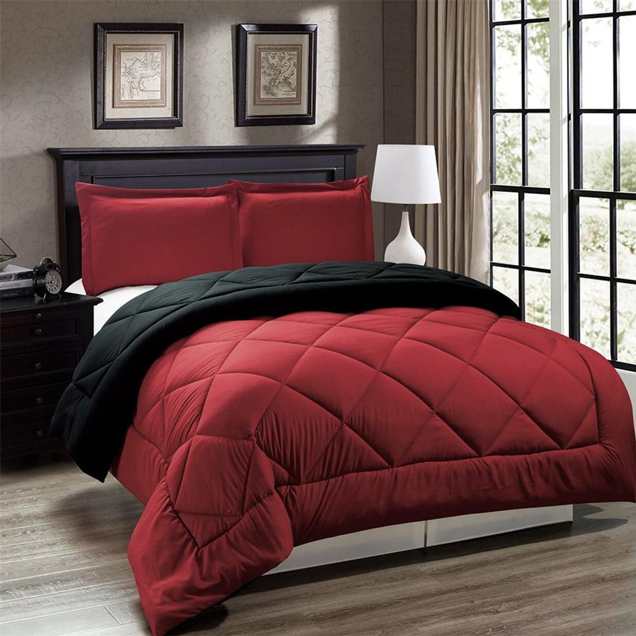 3pc Down Alternative Reversible Comforter Set in Red