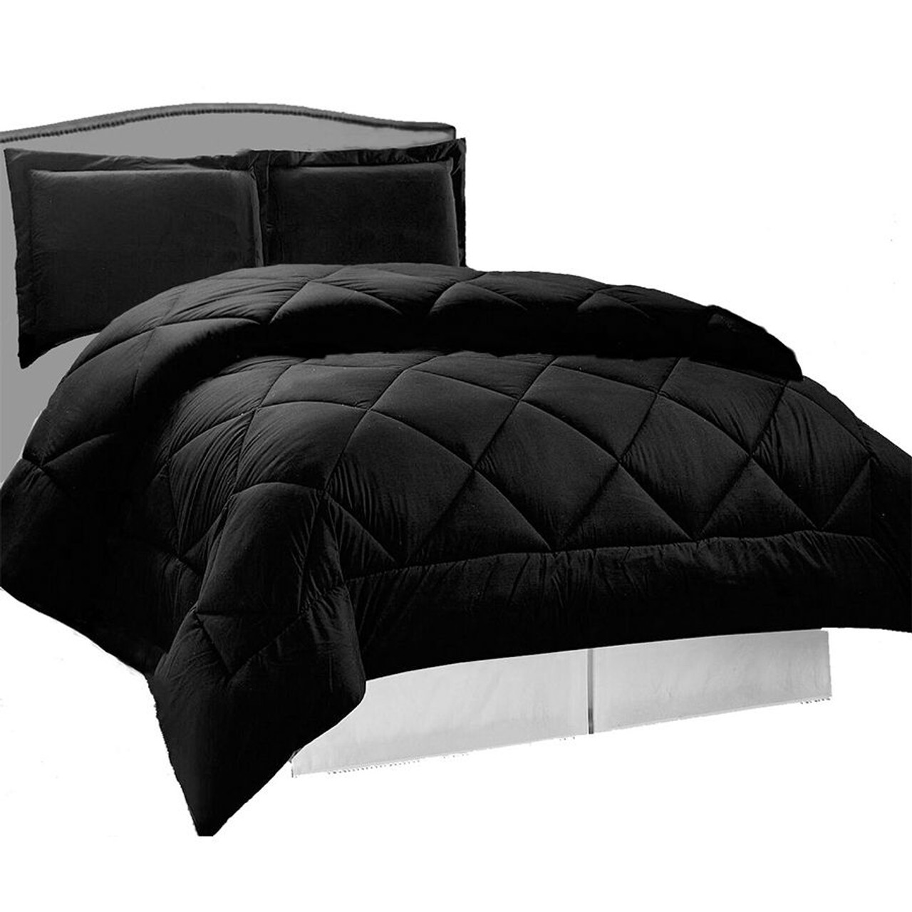3 pcs Down Alternative Reversible Comforter Set in Black Color