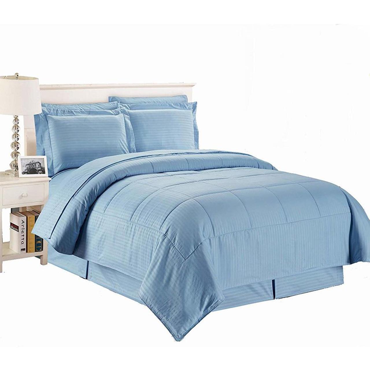 8 pc Microfiber Comforter Set Light Blue Color