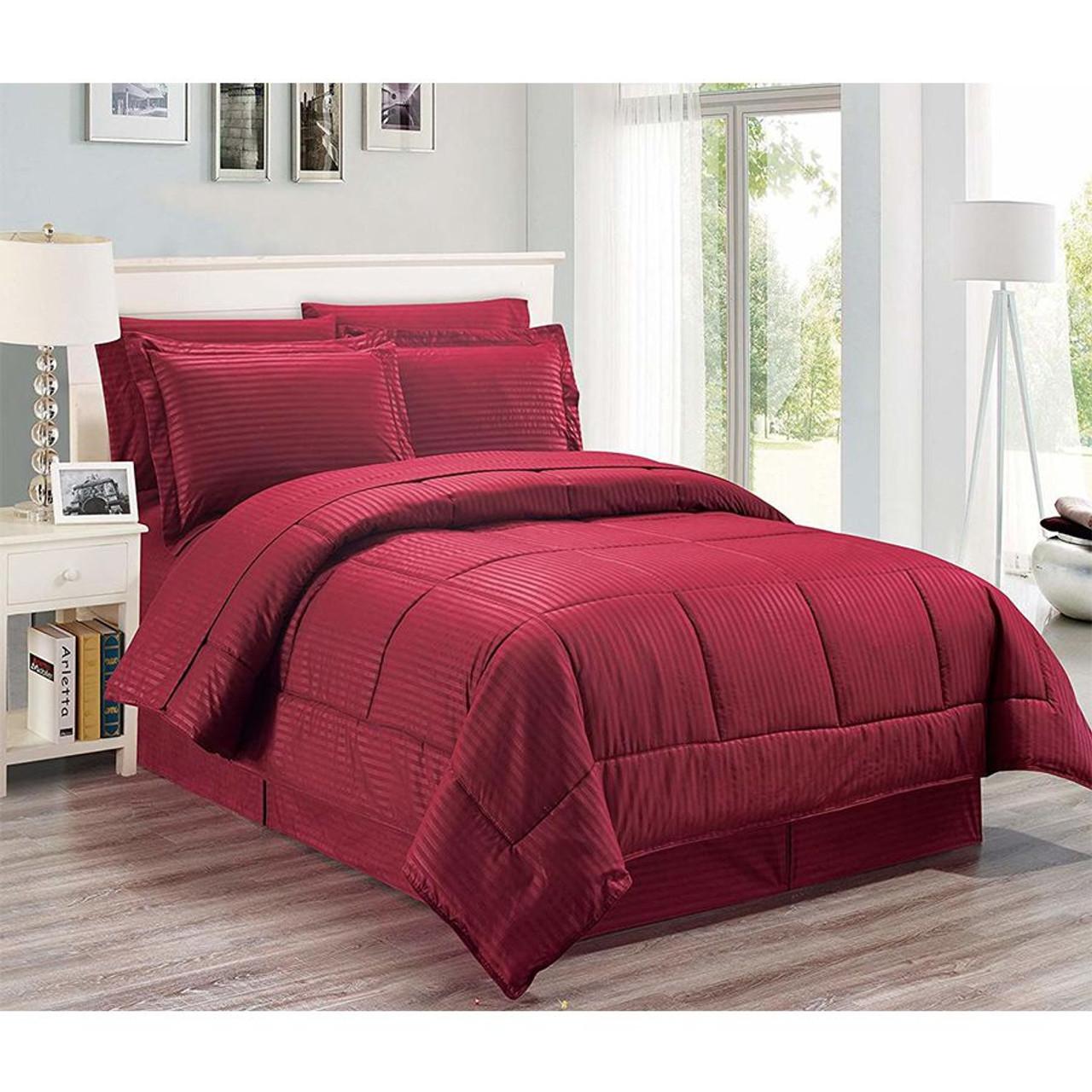 8 pc Microfiber Comforter Set Burgundy Color