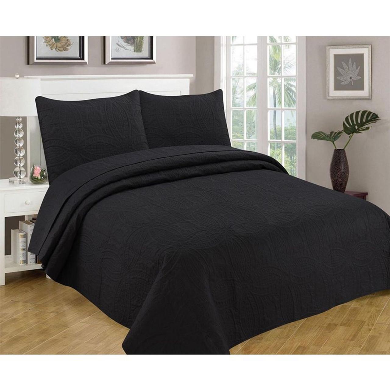 3 Pc Oversized Bedspread Coverlet Set Black Color
