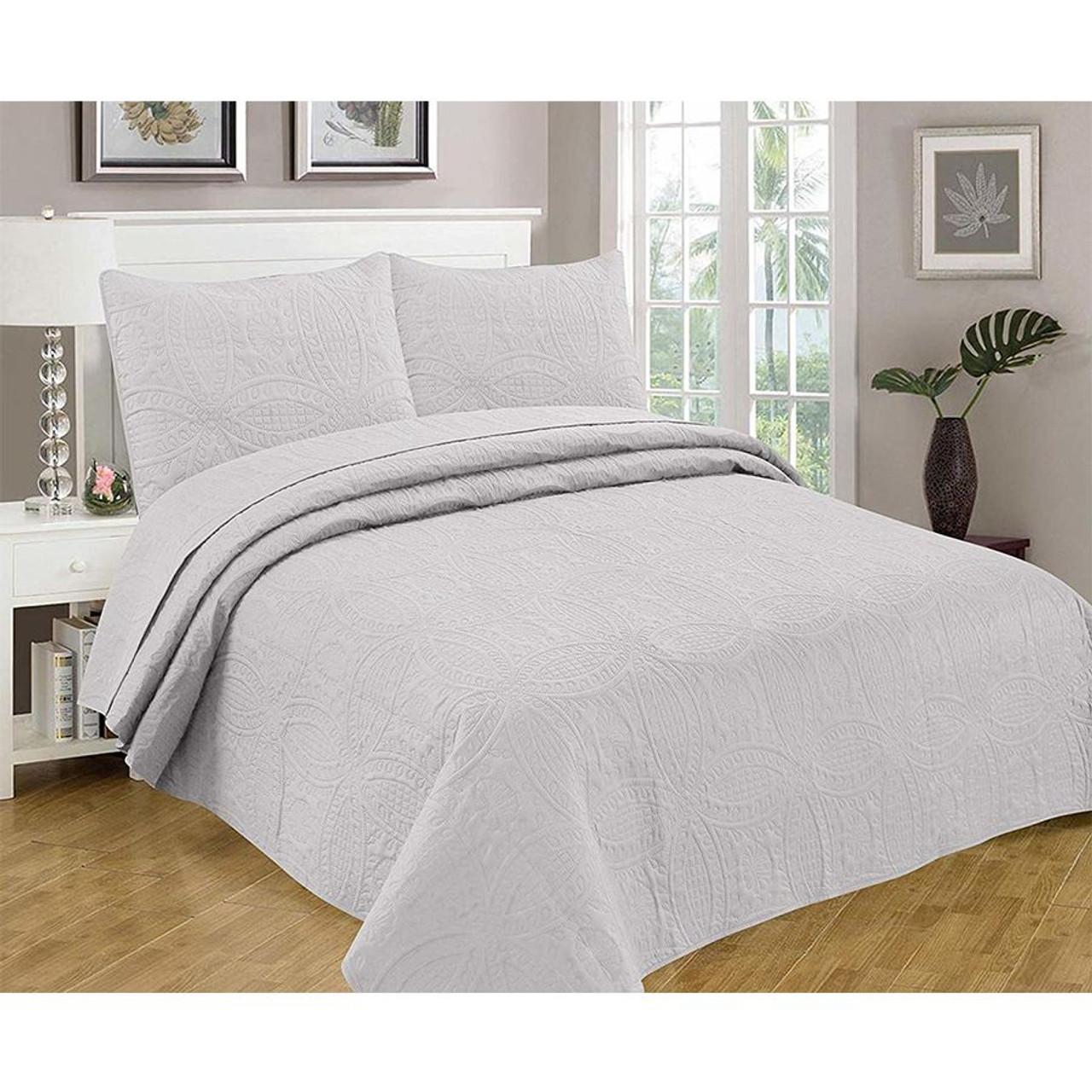 3 Pc Oversized Bedspread Coverlet Set Grey Color Legacy Decor