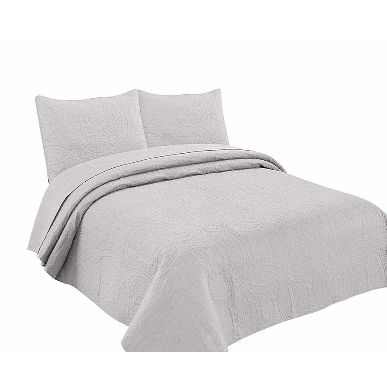 3 Pc Oversized Bedspread Coverlet Set Grey Color