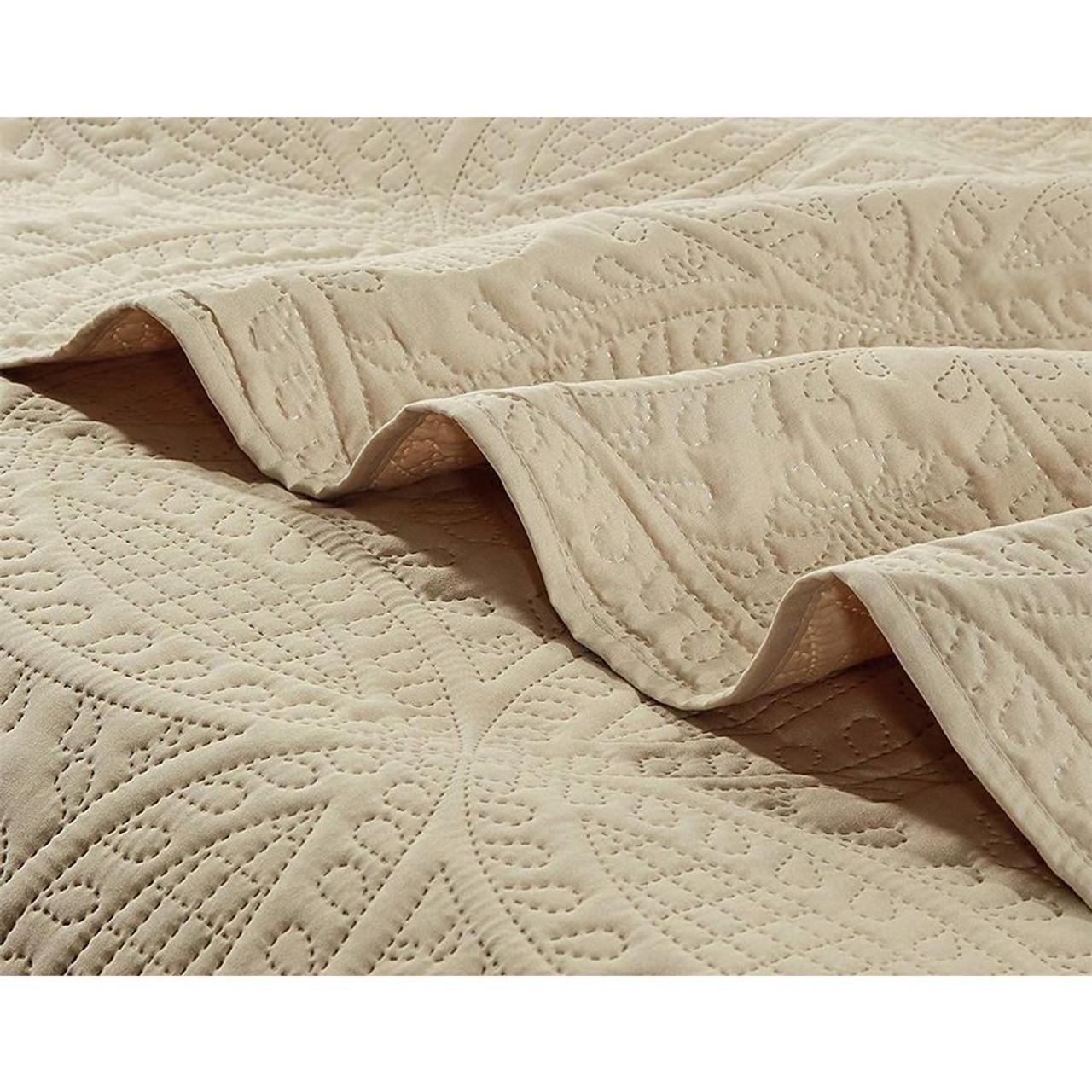 3 Pc Oversized Bedspread Coverlet Set Beige Color