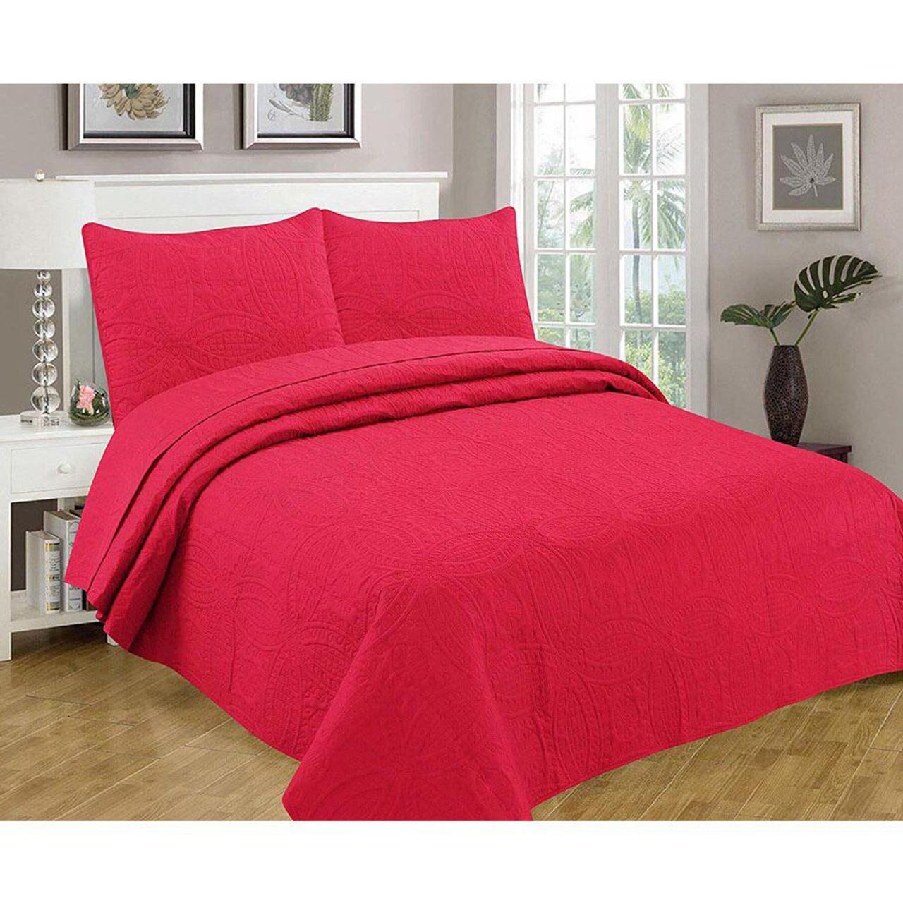 3 pcs Oversized Bedspread Coverlet Set Paradise Pink Color