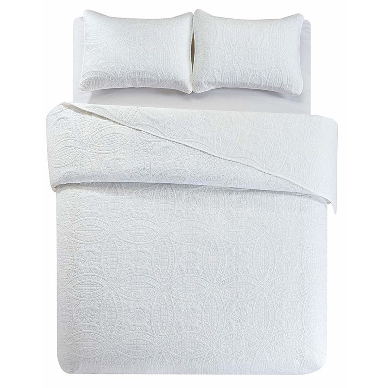 3 Pc Oversized Bedspread Coverlet Set White Color in USA, California, New York, New York City, Los Angeles, San Francisco, Pennsylvania, Washington DC, Virginia and Maryland