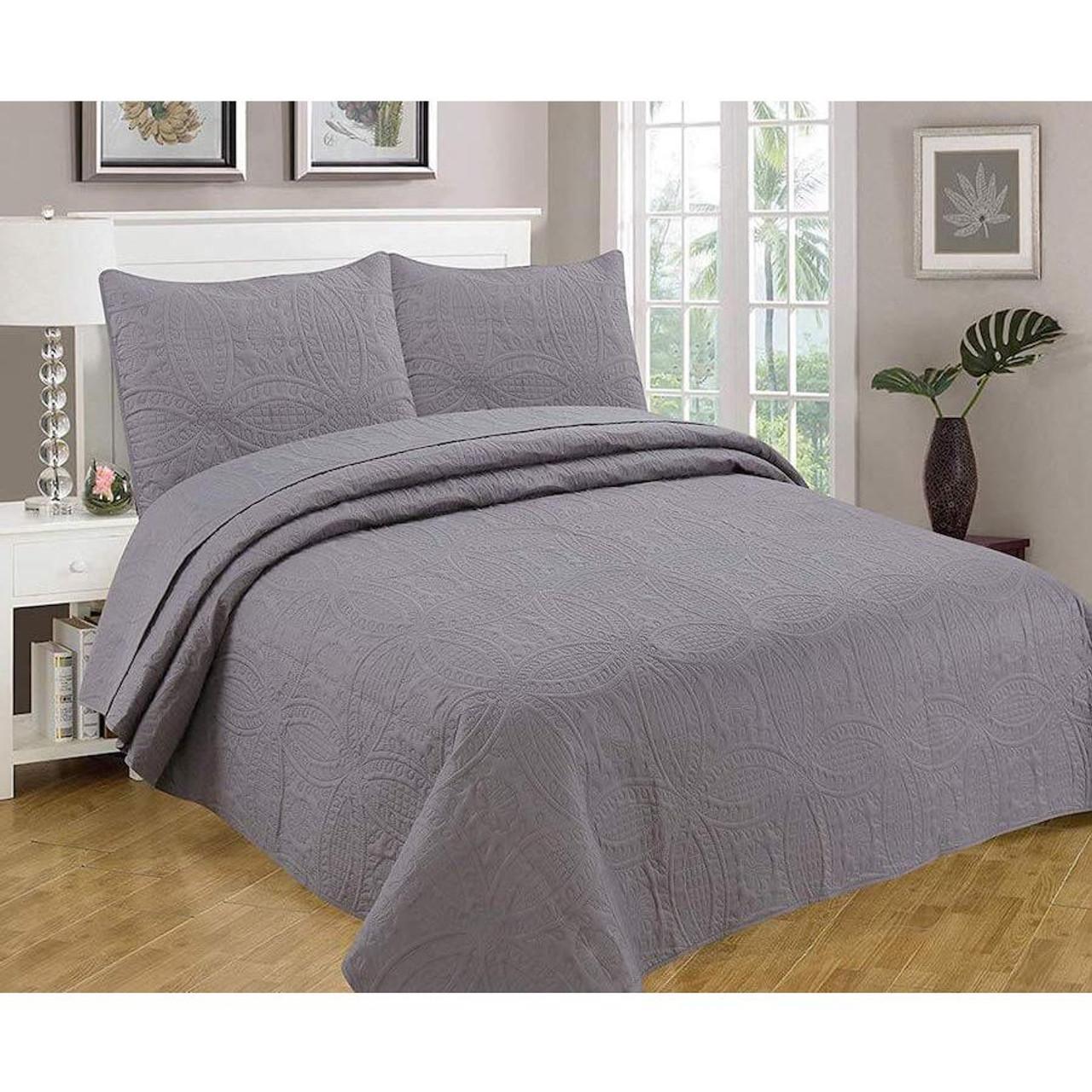 3 Pc Oversized Bedspread Coverlet Set Charcoal Color
