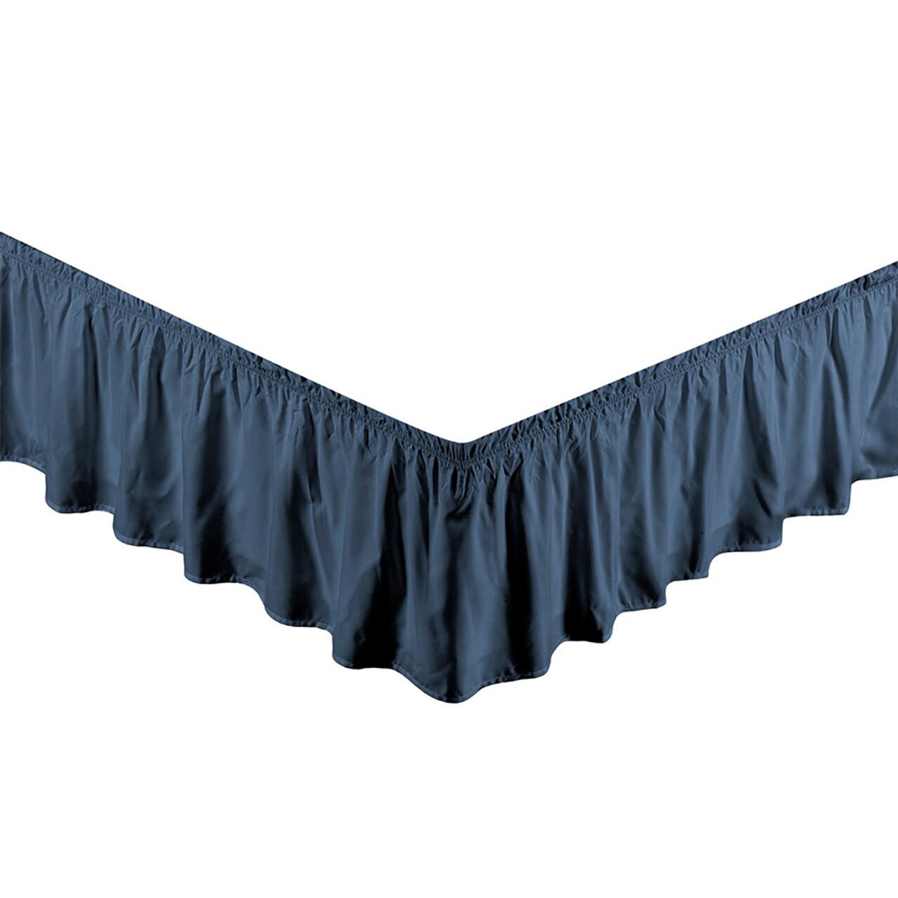 "Navy Bed Skirt Dust Ruffle 100% Brushed Microfiber with 14"" Drop in USA, California, New York, New York City, Los Angeles, San Francisco, Pennsylvania, Washington DC, Virginia, Maryland"
