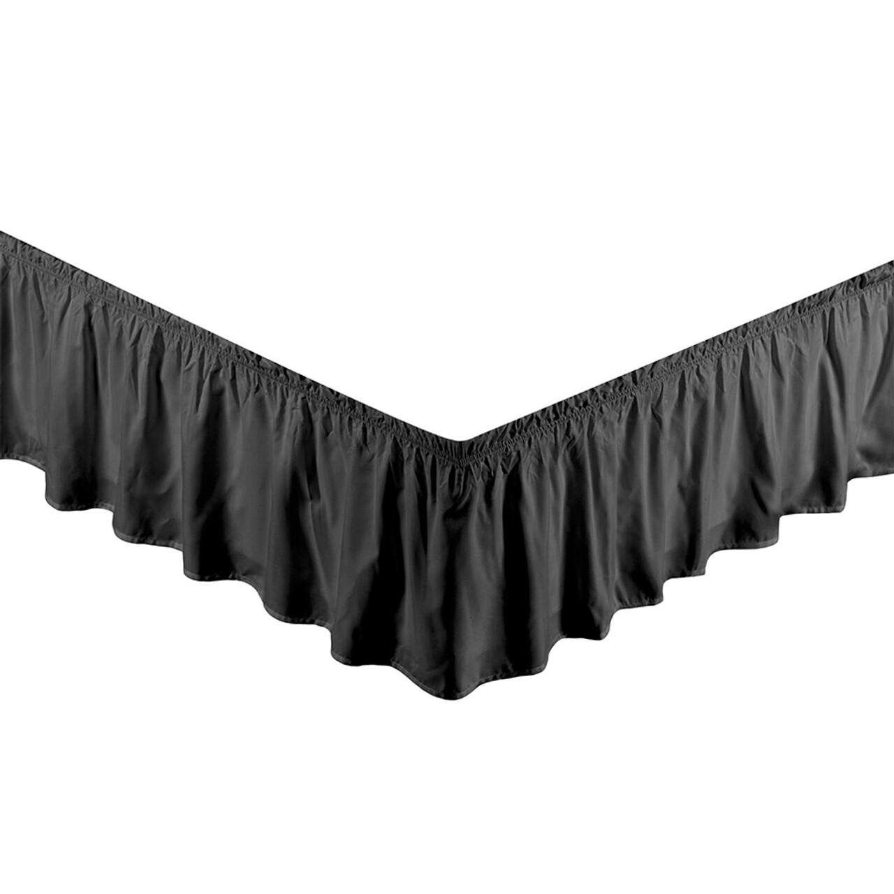 "Black Bed Skirt Dust Ruffle 100% Brushed Microfiber with 14"" Drop in USA, California, New York, New York City, Los Angeles, San Francisco, Pennsylvania, Washington DC, Virginia, Maryland"