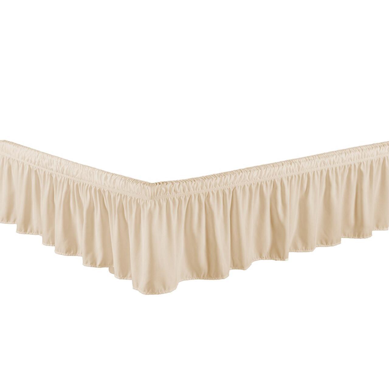 "Beige Bed Skirt Dust Ruffle 100% Brushed Microfiber with 14"" Drop in USA, California, New York, New York City, Los Angeles, San Francisco, Pennsylvania, Washington DC, Virginia, Maryland"