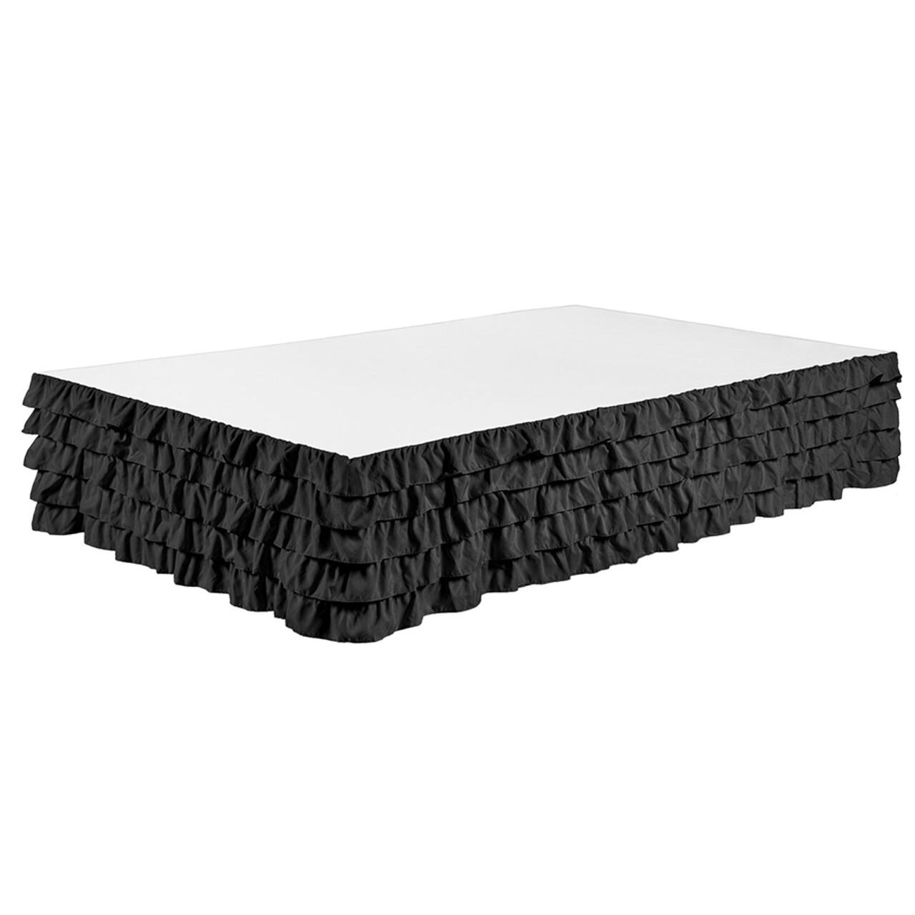 "Black Bed Skirt Tiered Dust Ruffle 100% Brushed Microfiber with 14"" Drop in USA, California, New York, New York City, Los Angeles, San Francisco, Pennsylvania, Washington DC, Virginia, Maryland"
