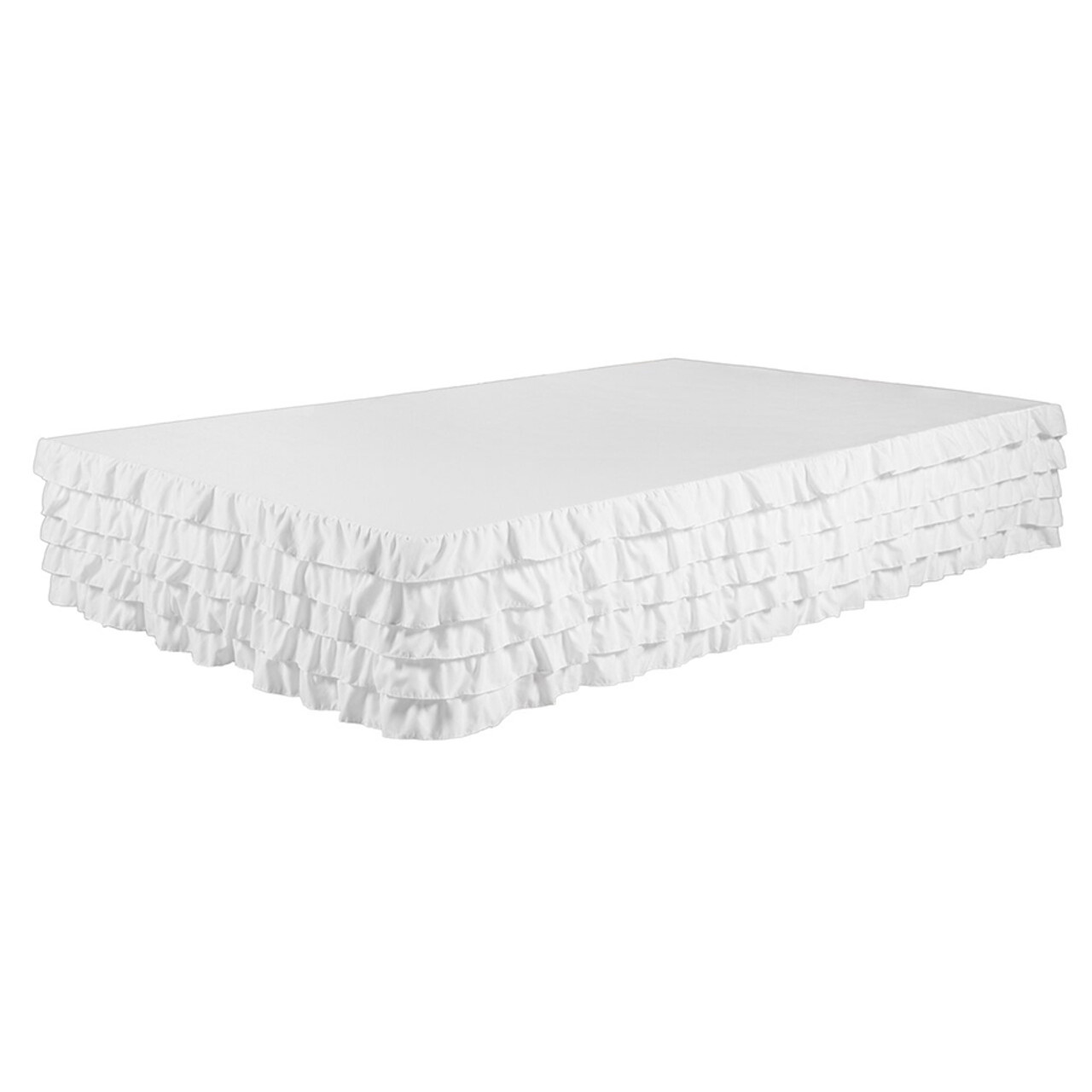 """White Bed Skirt Tiered Dust Ruffle 100% Brushed Microfiber with 14"""" Drop in USA, California, New York, New York City, Los Angeles, San Francisco, Pennsylvania, Washington DC, Virginia, Maryland"""