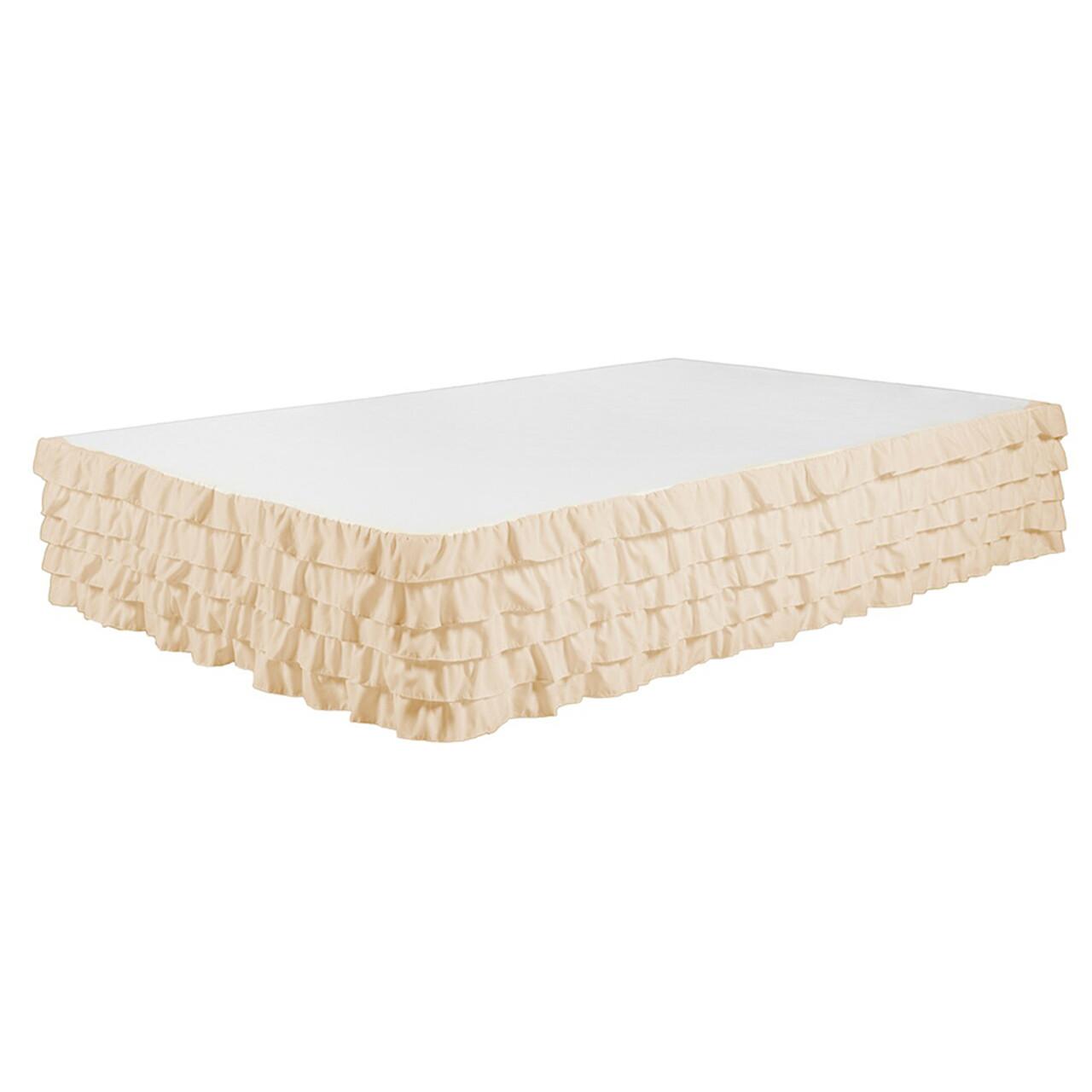 "Beige Bed Skirt Tiered Dust Ruffle 100% Brushed Microfiber with 14"" Drop in USA, California, New York, New York City, Los Angeles, San Francisco, Pennsylvania, Washington DC, Virginia, Maryland"