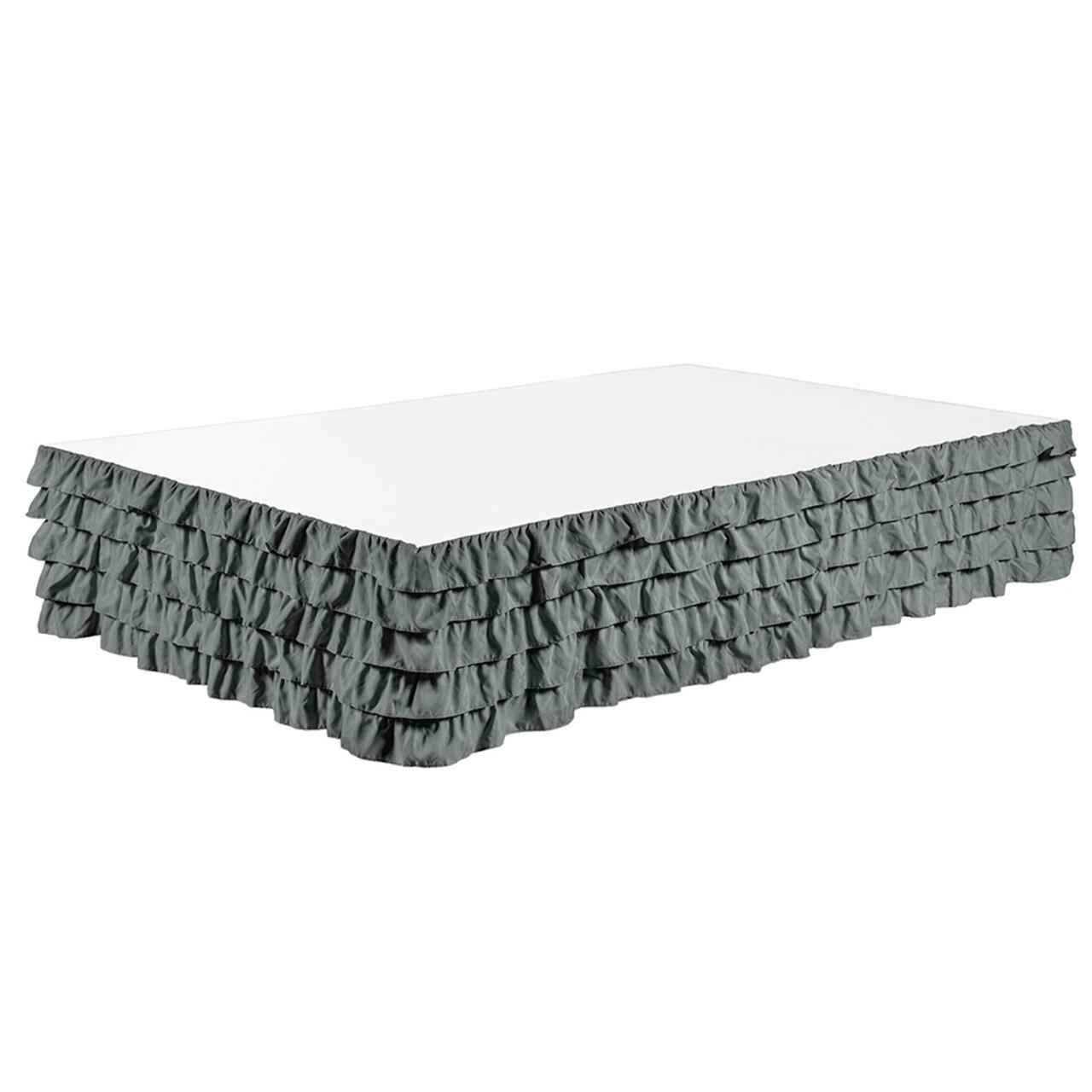 "Gray Bed Skirt Tiered Dust Ruffle 100% Brushed Microfiber with 14"" Drop in USA, California, New York, New York City, Los Angeles, San Francisco, Pennsylvania, Washington DC, Virginia, Maryland"