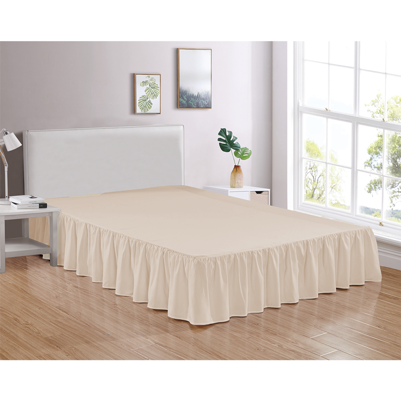 "Beige Bed Skirt Soft Dust Ruffle 100% Brushed Microfiber with 14"" Drop in USA, California, New York, New York City, Los Angeles, San Francisco, Pennsylvania, Washington DC, Virginia, Maryland"
