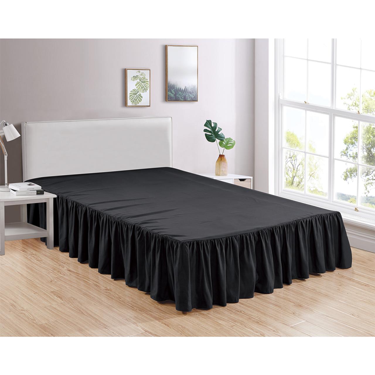 "Black Bed Skirt Soft Dust Ruffle 100% Brushed Microfiber with 14"" Drop in USA, California, New York, New York City, Los Angeles, San Francisco, Pennsylvania, Washington DC, Virginia, Maryland"